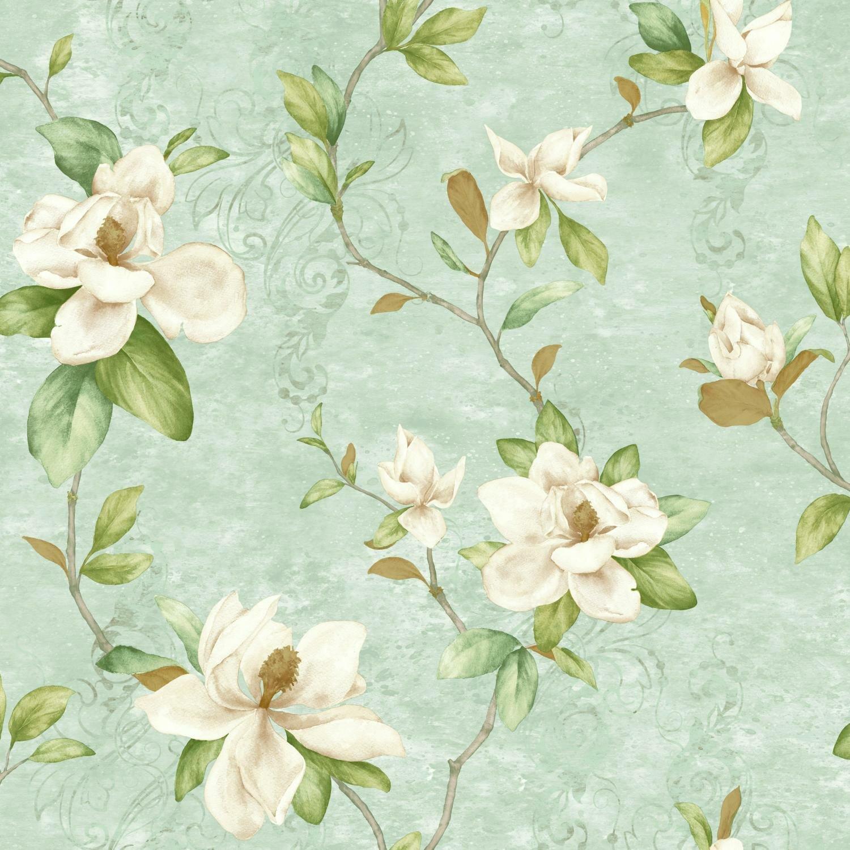 York wallcoverings charlotte magnolia trail 33 39 l x 20 5 w floral medium large wallpaper roll - Wallpaper store charlotte nc ...