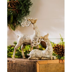2 Piece Birch Bark Reindeer Décor Set
