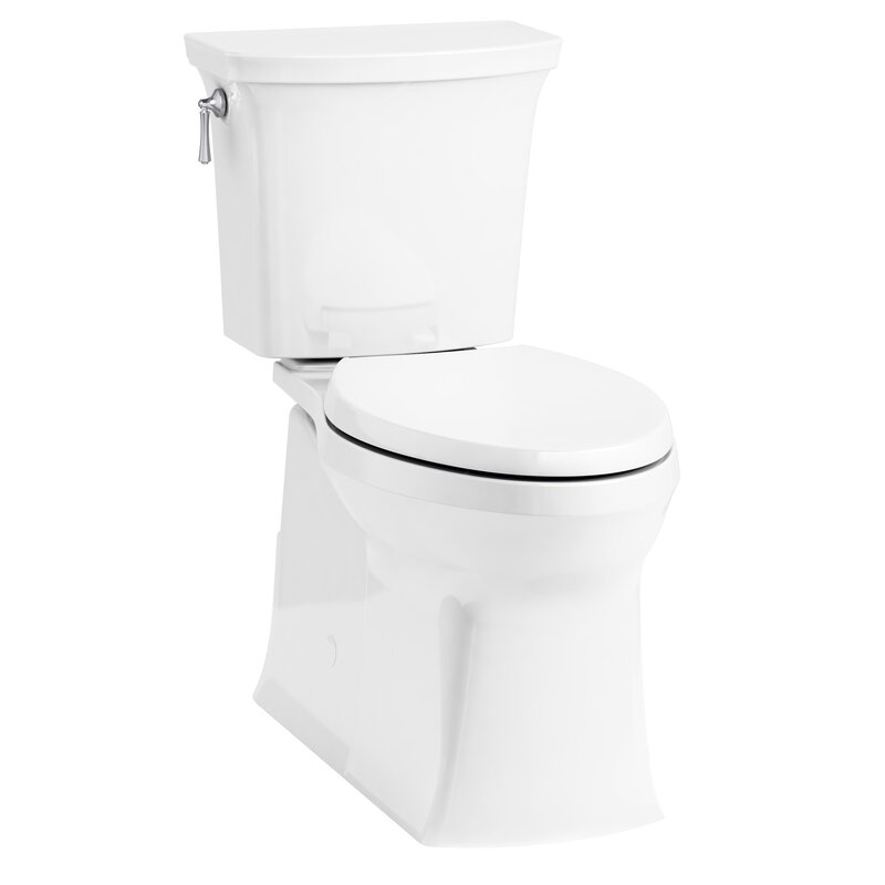 Corbelle Comfort Height® Two-Piece Elongated 1 28 GPF Toilet with Skirted  Trapway and Revolution 360™ Swirl Flushing Technology and Left-Hand Trip