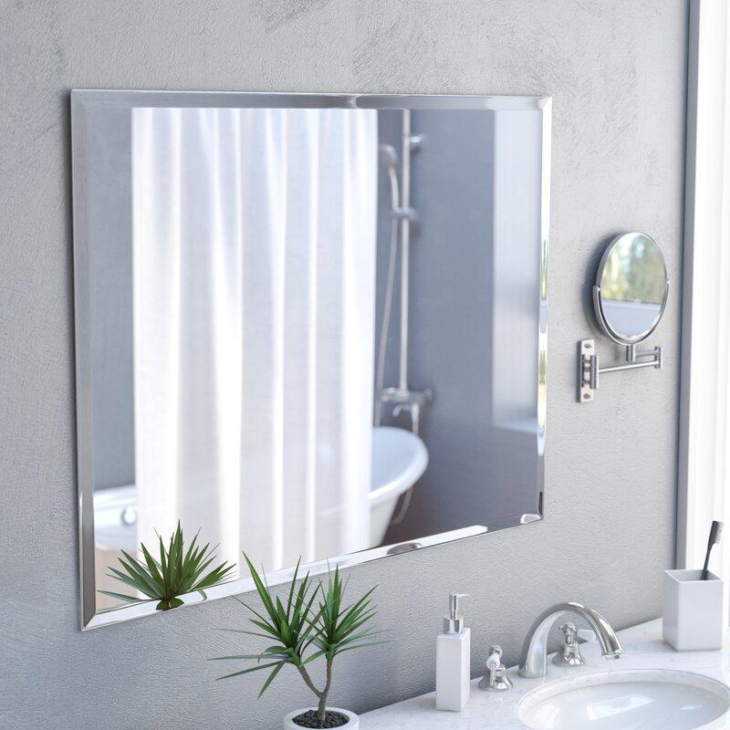 zipcode design marylee rectangle beveled polish frameless wall rh wayfair com rectangle bathroom mirror with lights black rectangle bathroom mirror