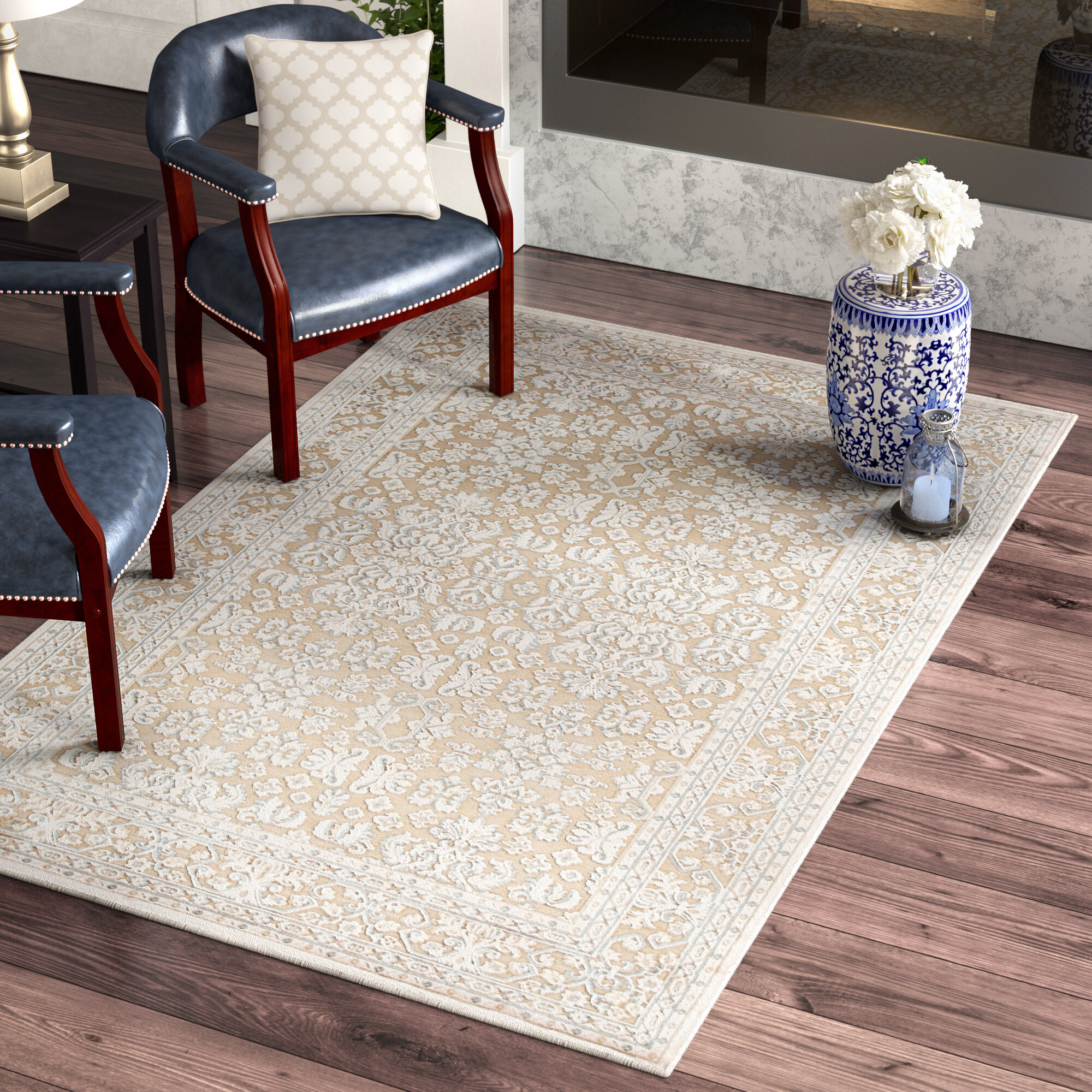 Three Posts Harting Machine Woven Hand Tufted Chenille Whiteivory Area Rug &