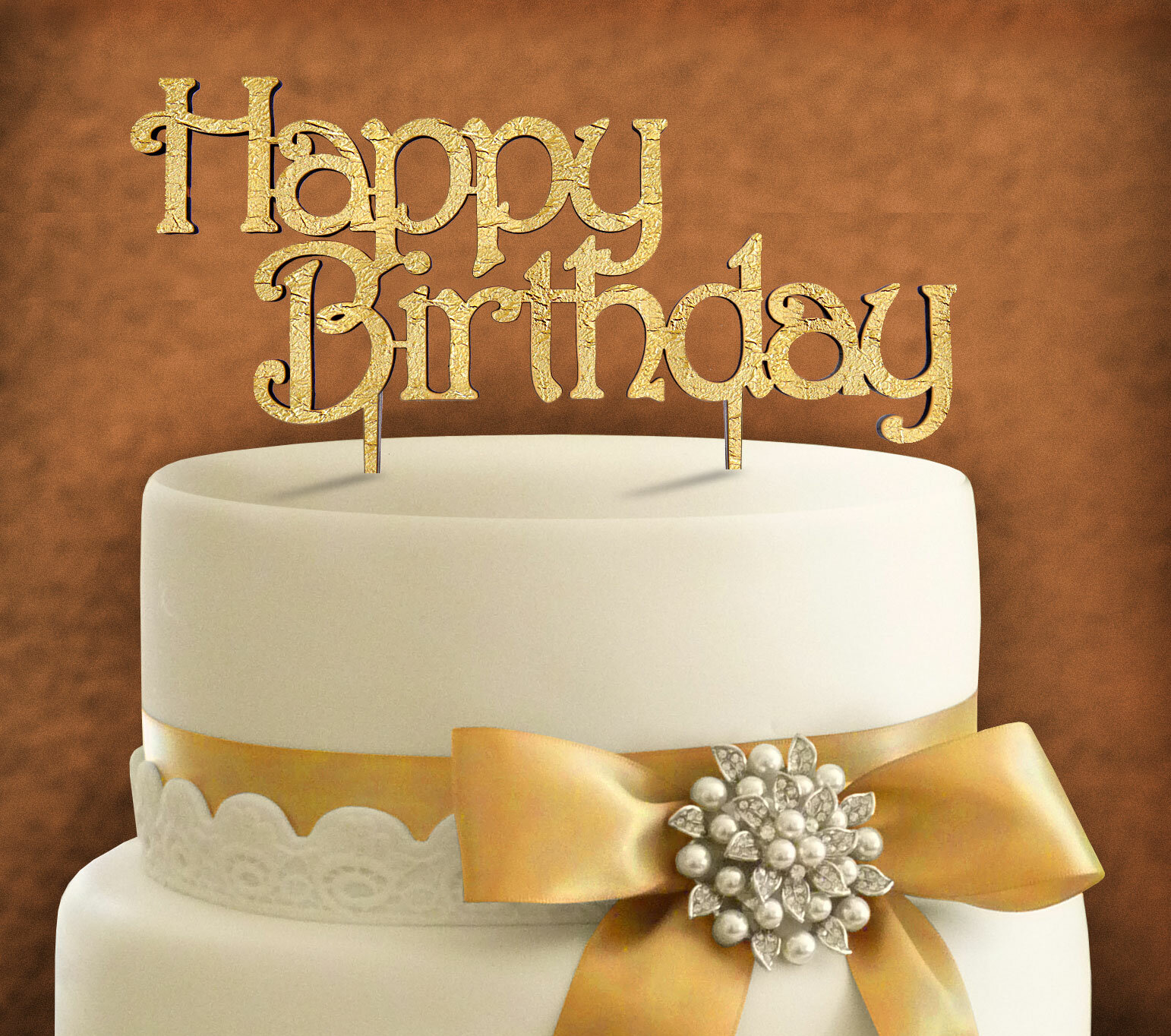AMonogramArtUnlimited Happy Birthday Wooden Cake Topper