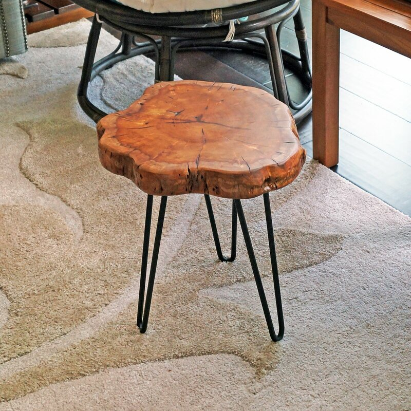 Sari Unique Wood Stump Rustic Surface End Table
