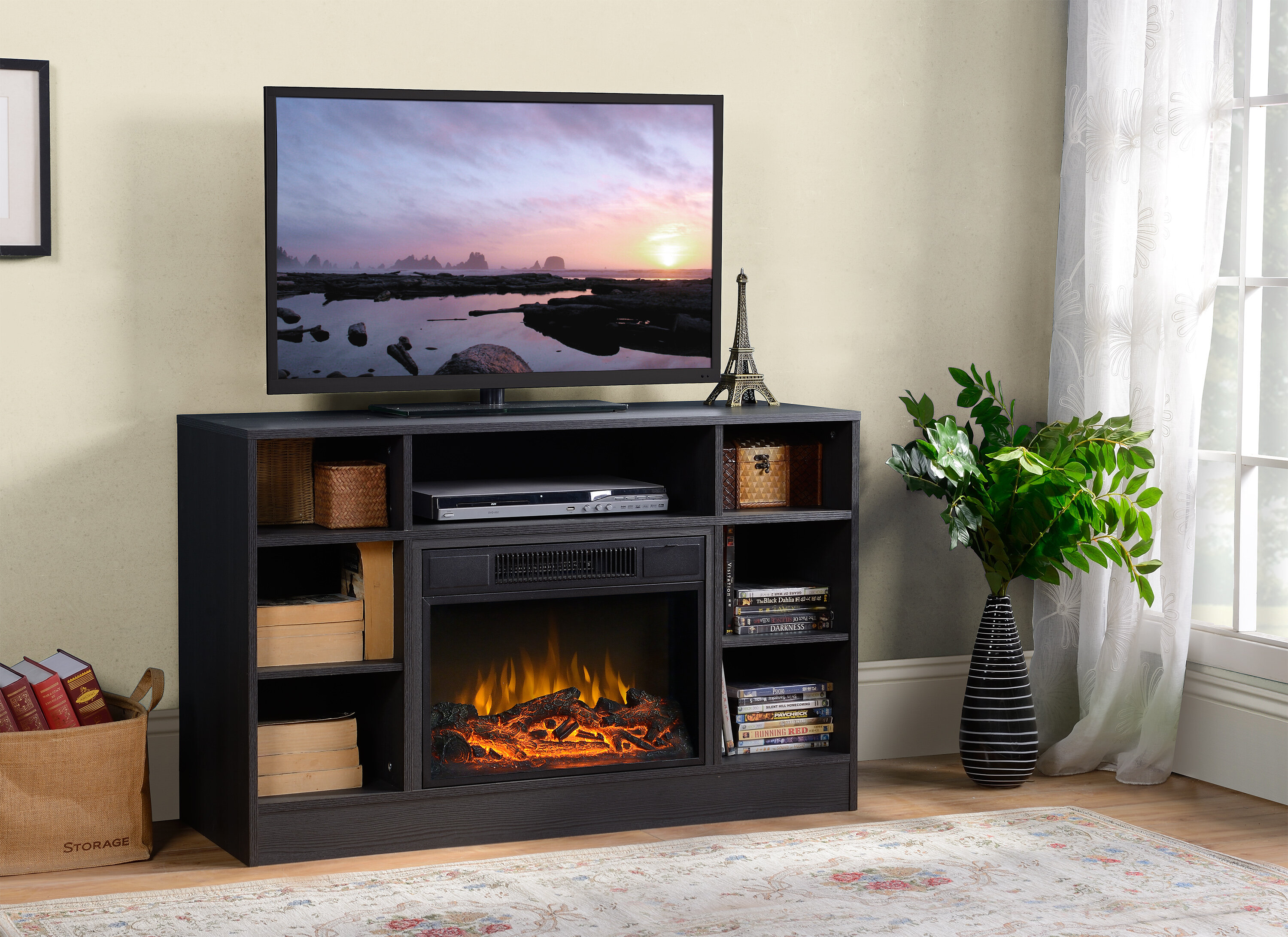 up with star media to fireplace cherry for tv center infrared midnight tvs web quartz carlin twin stand