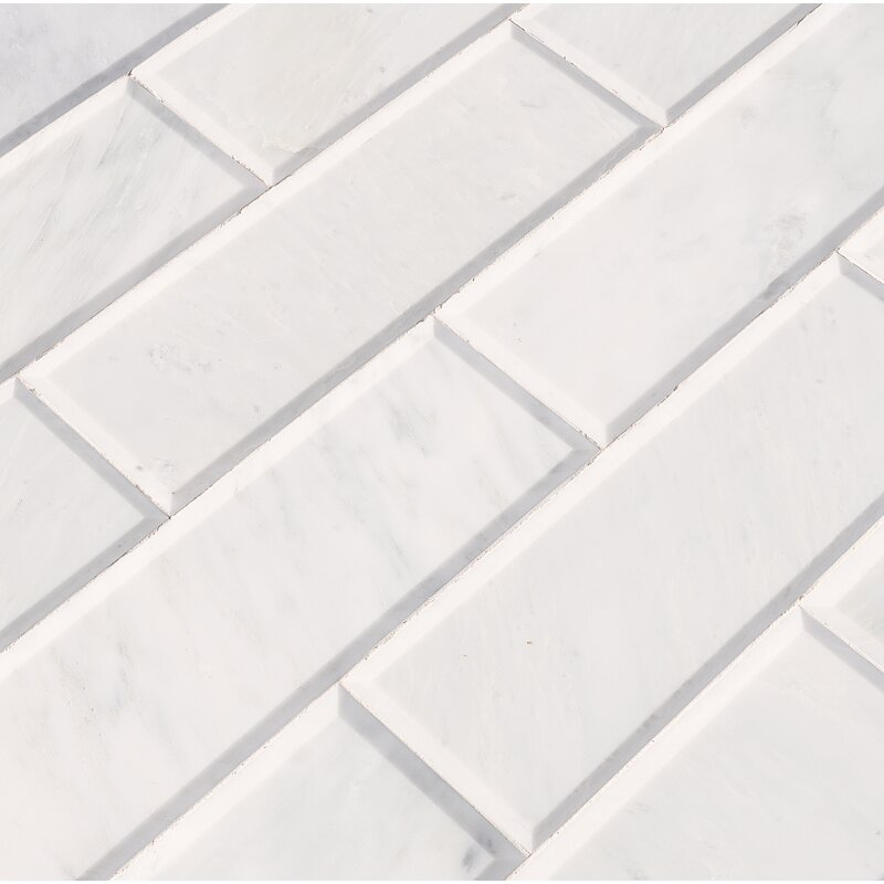 Msi Pol And Big Bev 4 X 12 Marble Subway Tile In White Wayfair