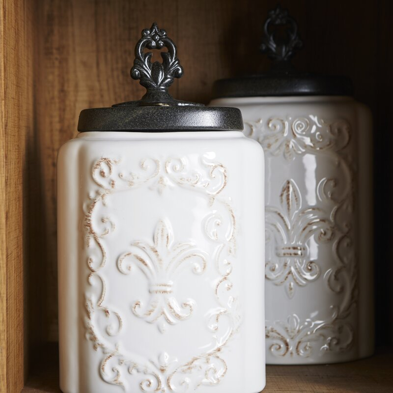 de lis canisters for the kitchen one allium way fleur de lis 3 piece kitchen canister set