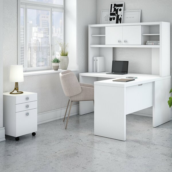 Kathy Ireland Office By Bush Echo 4 Piece L Shape Desk Suite With Hutch And Mobile File Cabinet Wayfair