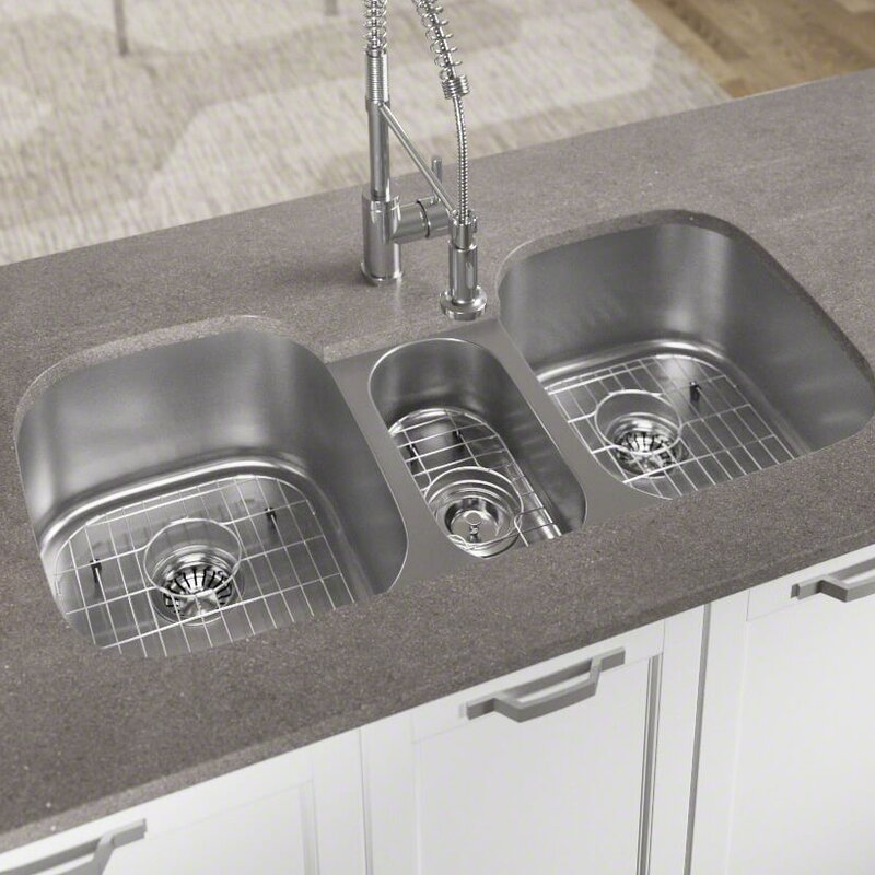 Mrdirect stainless steel 43 x 21 triple basin undermount kitchen stainless steel 43 x 21 triple basin undermount kitchen sink with additional accessories workwithnaturefo