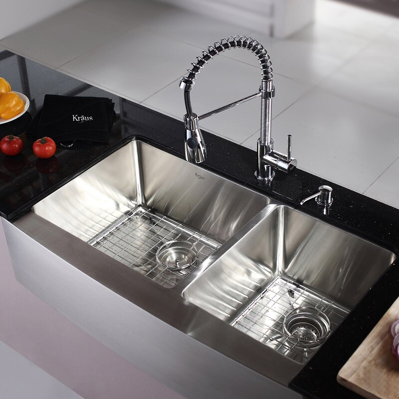 Medium image of kitchen combos 36   x 21   double basin farmhouse apron kitchen sink with faucet