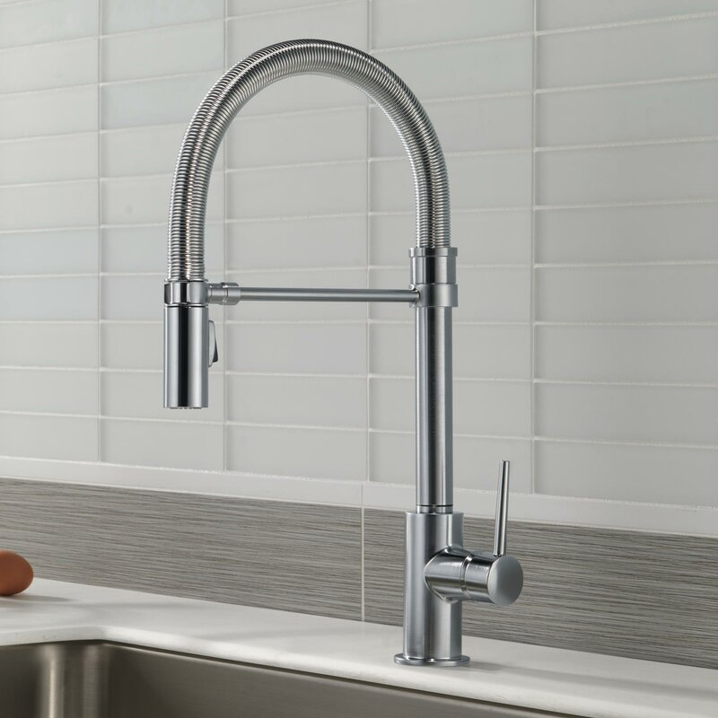 delta trinsic single handle pull down kitchen faucet with spring
