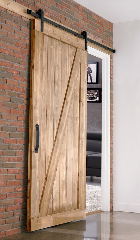 Farm Style Solid Wood Panelled Wood Prehung Interior Barn Door Kit