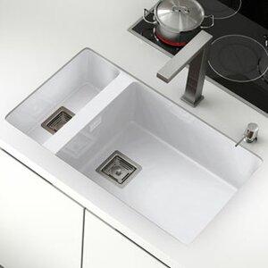 zie 75cm x 45cm double bowl undermount kitchen sink