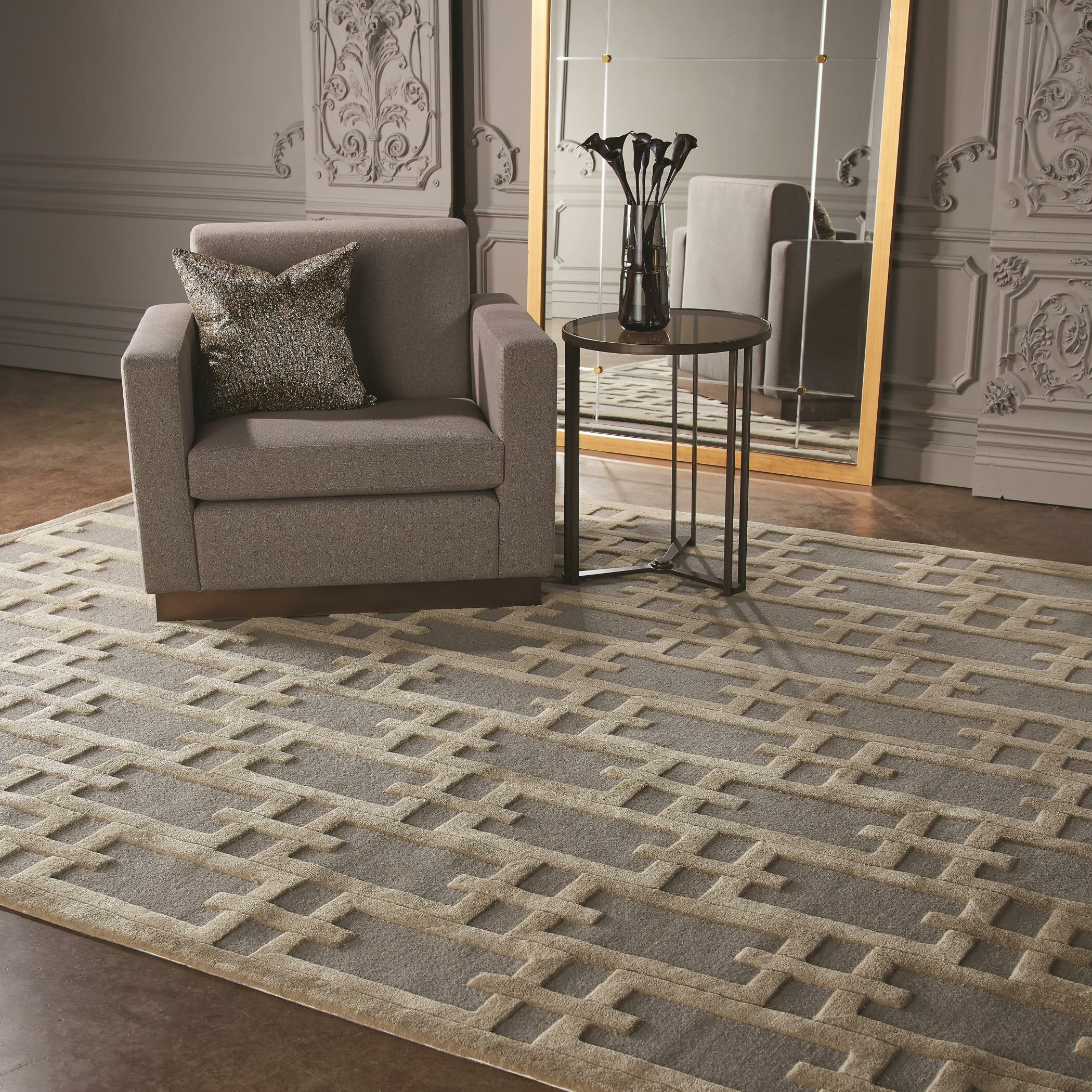 Global Views Link Console: Global Views Link Hand-Tufted Wool/Cotton Gray Area Rug