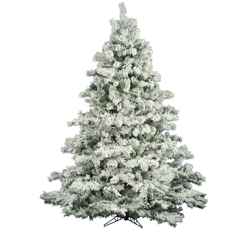 The Holiday Aisle Flocked Alaskan 6.5\' White/Green Pine Trees ...