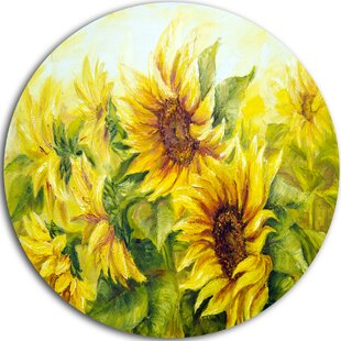 U0027Bright Yellow Sunny Sunflowersu0027 Oil Painting Print On Metal. By Design Art