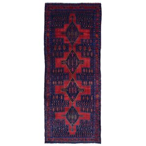 Alayna Hamadan Semi-Antique Hand-Woven Wool Red Area Rug