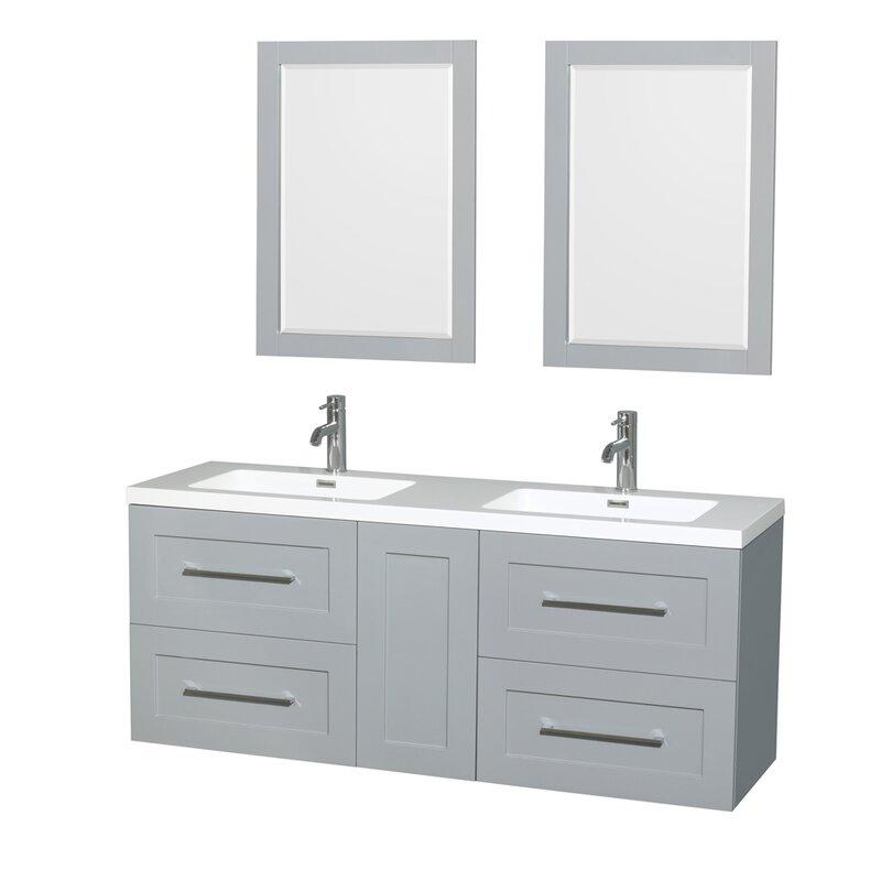 "wyndham collection olivia 60"" double dove gray bathroom vanity set"