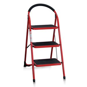 3-Step Steel Folding Step Stool with 200 lbs. Load Capacity