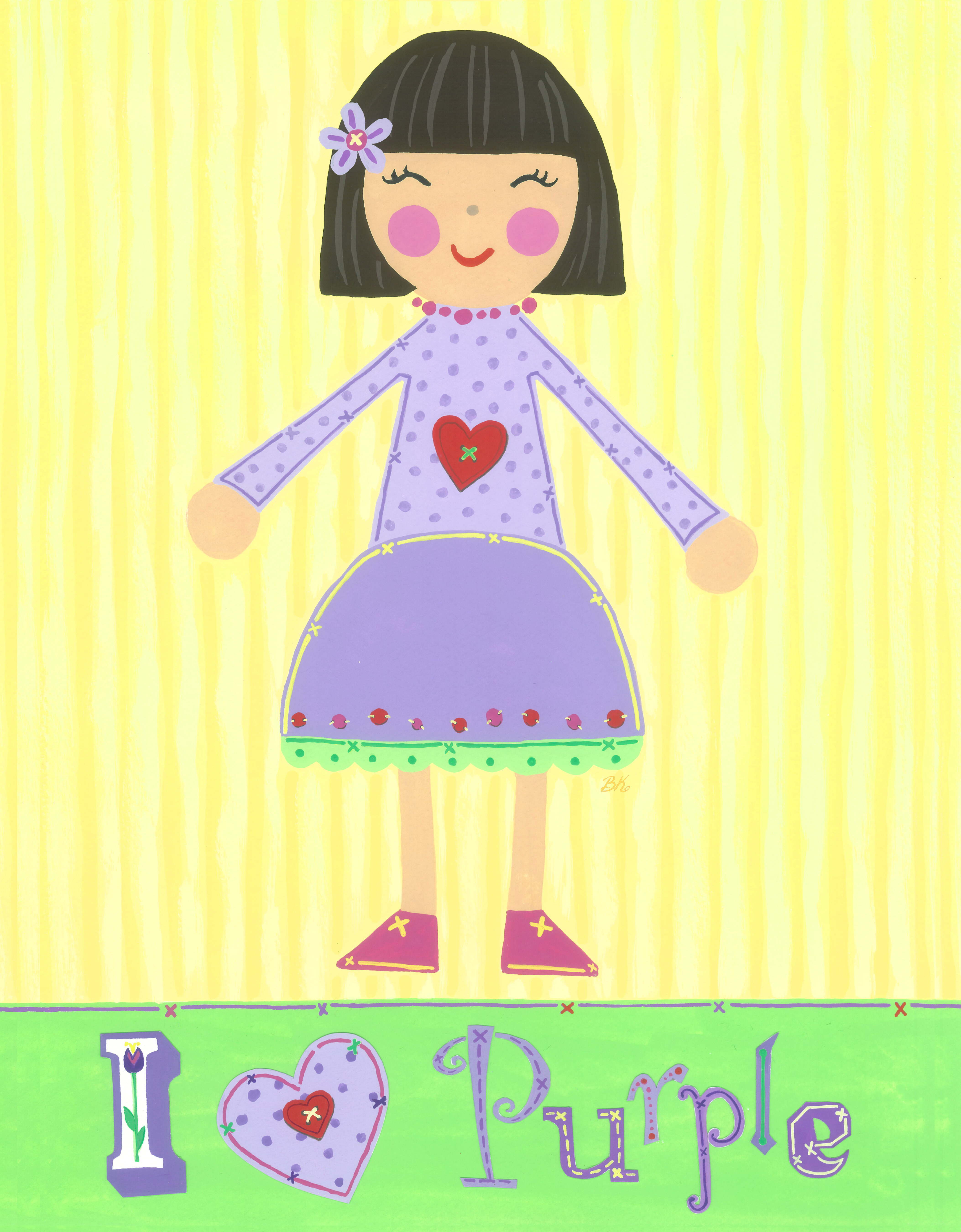 The Little Acorn Purple Girl Violet Canvas Art   Wayfair