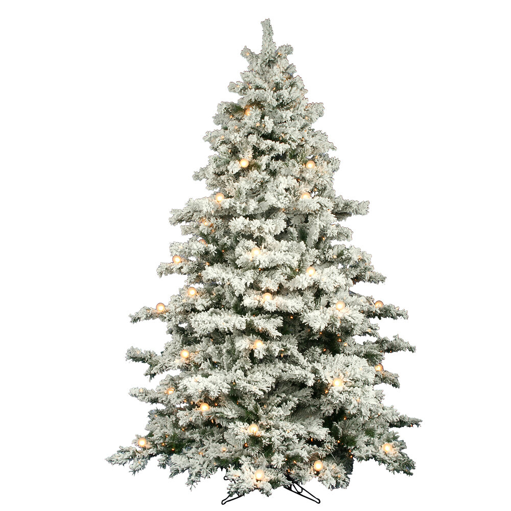 flocked alaskan 9 white spruce trees artificial christmas tree with 900 led with stand reviews birch lane