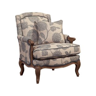 Charmant Carved Wood Accent Armchair