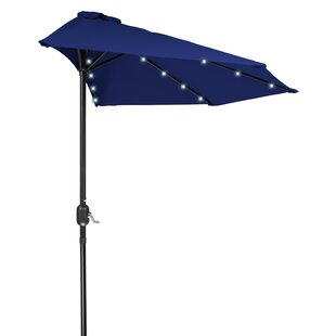 Phipps Patio Half LED Solar Powered 9u0027 Lighted Umbrella