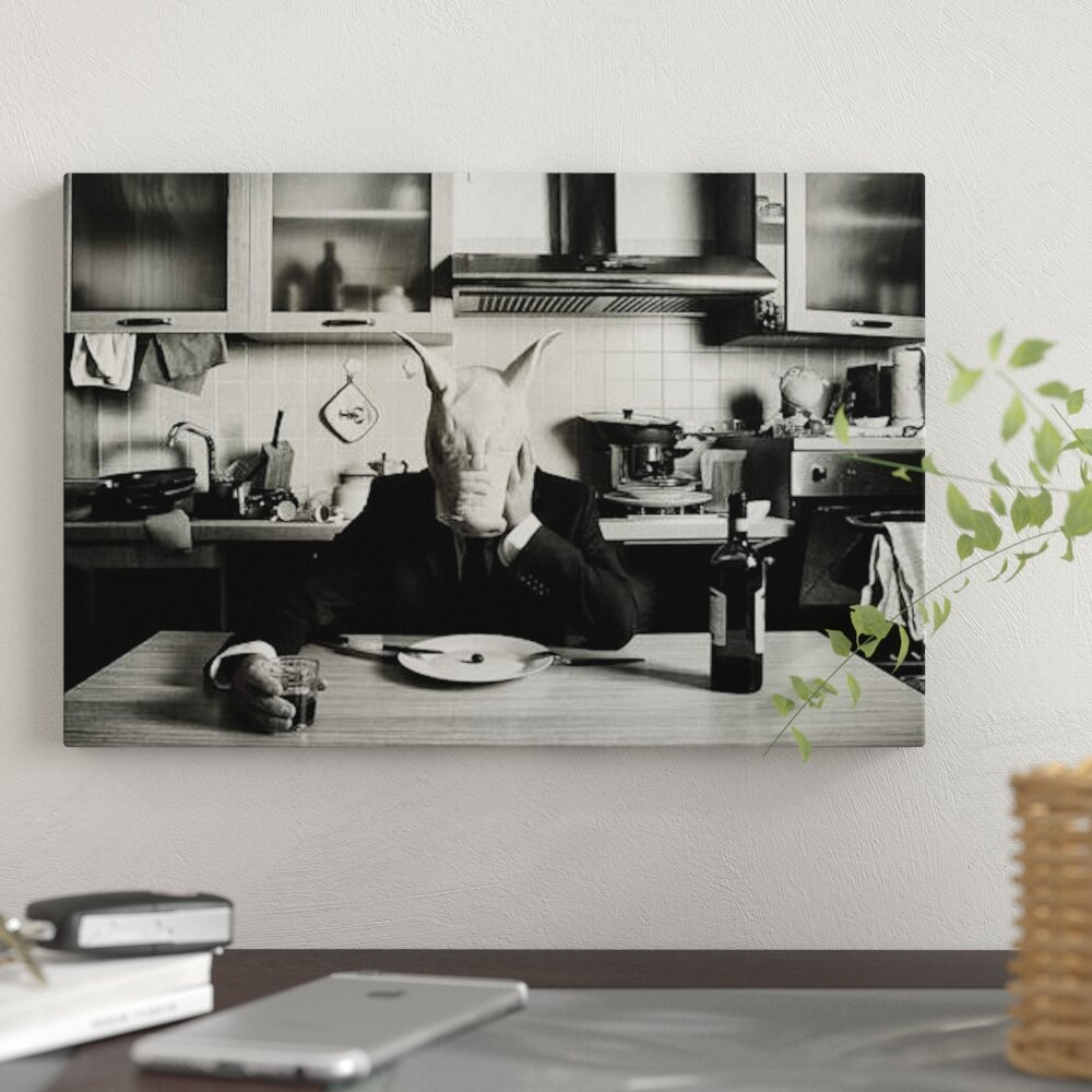 Just one day alone family portrait graphic art print on canvas