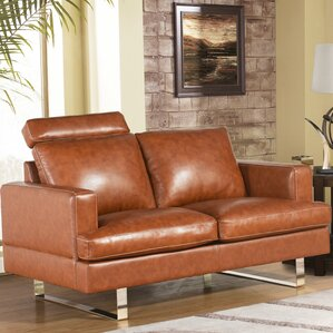 Brayden Studio Charles Mid Century Camel Top Grain Leather Loveseat Image