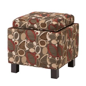 Shelley Square Storage Ottoman in Geometric Brown