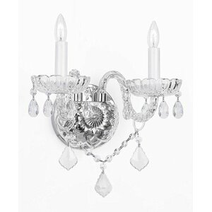 Bowerville Venetian Style Crystal 2-Light Candle Sconce
