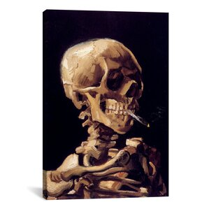 'Skull with Cigarette 1885' by Vincent Van Gogh Painting Print on Canvas