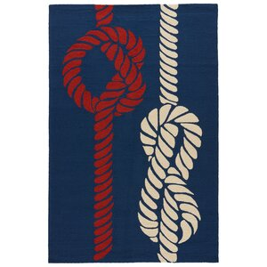 Knot Your Average Hand-Woven Nautical Blue  Indoor/Outdoor Area Rug
