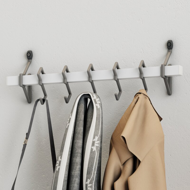 beekman place metal wall mount coat rack with hanging hook reviews birch lane. Black Bedroom Furniture Sets. Home Design Ideas