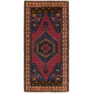 One Of A Kind Braintree Vintage Hand Knotted Dark Pink Area Rug
