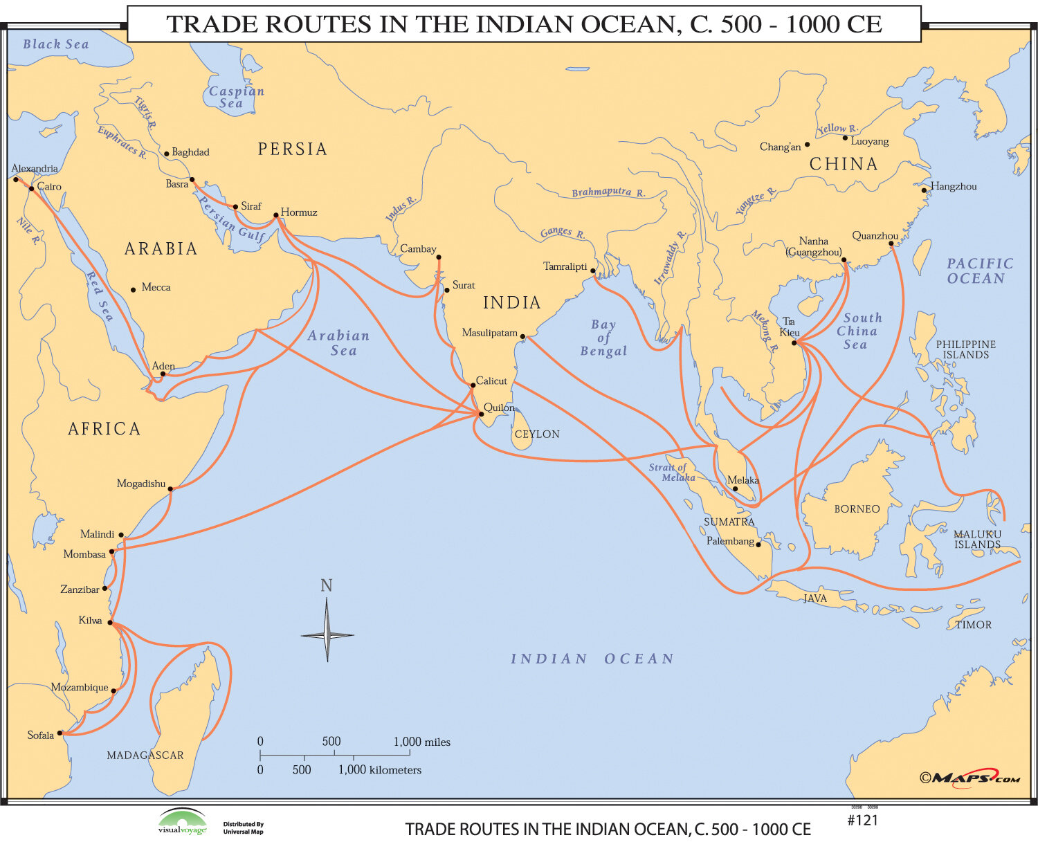 World History Wall Maps - Trade Routes in the Indian Ocean on atlantic ocean, korean peninsula map, arabian sea, comoros map, bay of bengal, world map, pacific ocean, persian gulf, silk road, india map, caspian sea, south china sea, middle east map, equator map, christmas island, ukraine map, south america map, china map, africa map, bay of bengal map, cape of good hope map, caribbean sea, mediterranean sea, iran map, pacific map, arctic ocean, australia map, black sea, south asia, java map, latin america map, persian gulf map, arabian sea map, southern ocean, world ocean, asia map, red sea,