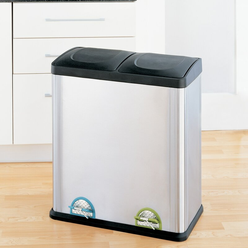 Beau Stainless Steel 15.85 Gallon Step On Multi Compartments Recycling Bin