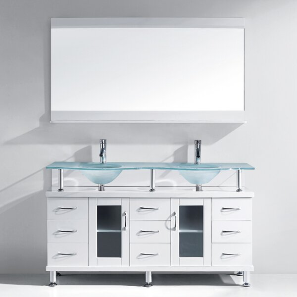 Latitude Run Millette 61 Double Bathroom Vanity Set With Frosted