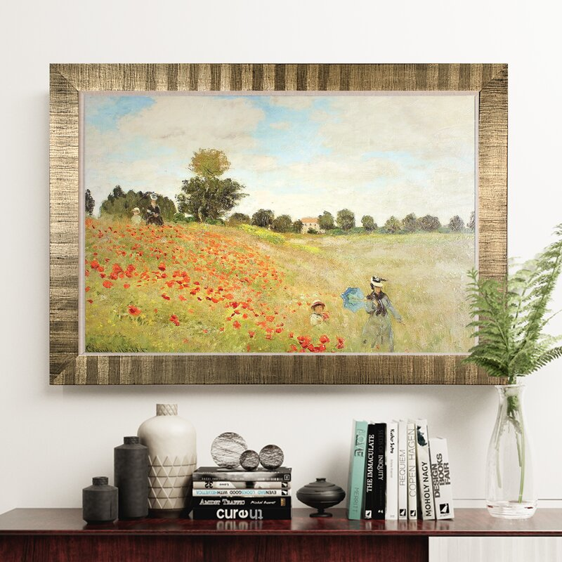 Astoria Grand \'Poppy Field\' Framed Oil Painting Print on Wrapped ...