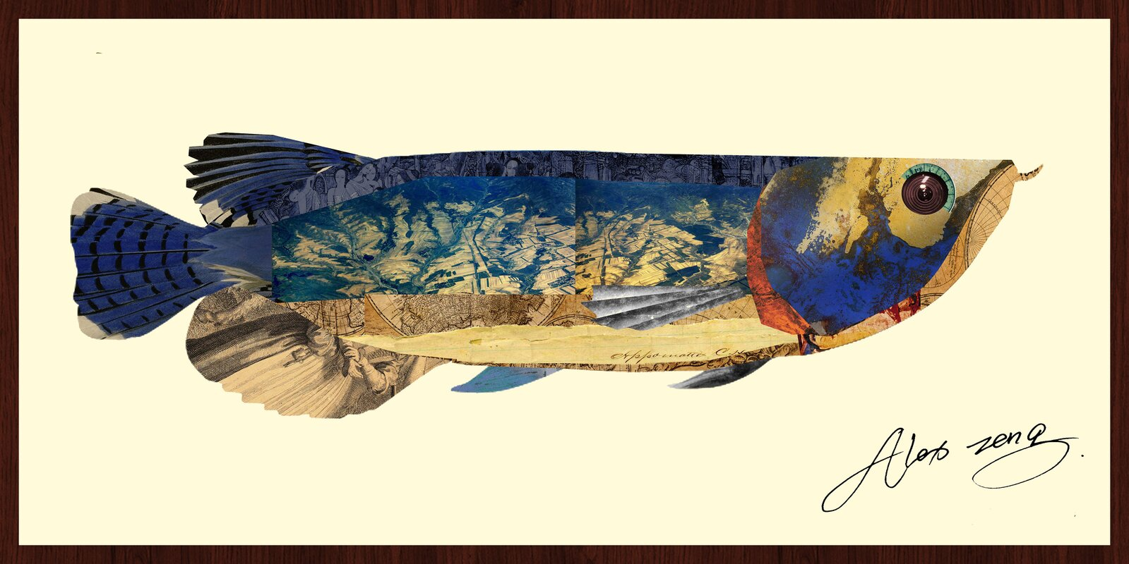 Empire art direct arowana fish dimensional collage hand for Arowana fish tank decoration