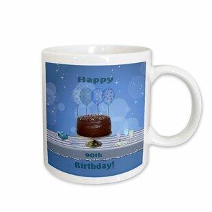90th Birthday Party With Chocolate Cake And Balloons Coffee Mug