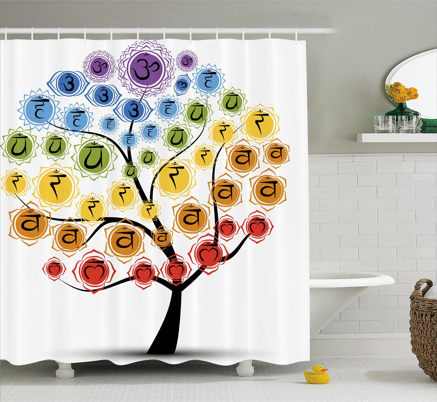 Bungalow Rose Jordan Yoga Tree With Branch Of Chakra Icon Harmony Shower Curtain