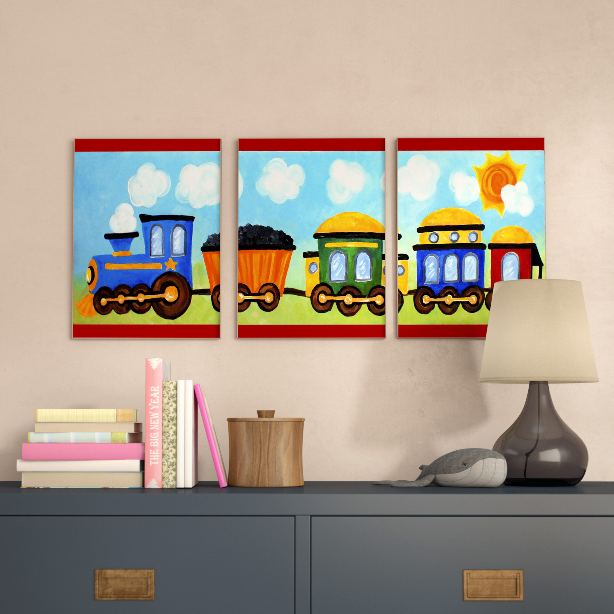 Zoomie Kids Elektra Choo Choo Train In The Sun Triptych 3 Piece Wall Plaque  Set U0026 Reviews | Wayfair