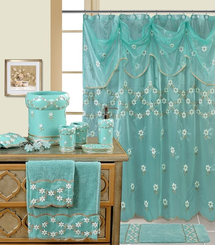 Turquoise And Coral Shower Curtain. Decorative Shower Curtain Daniels Bath  Reviews Wayfair