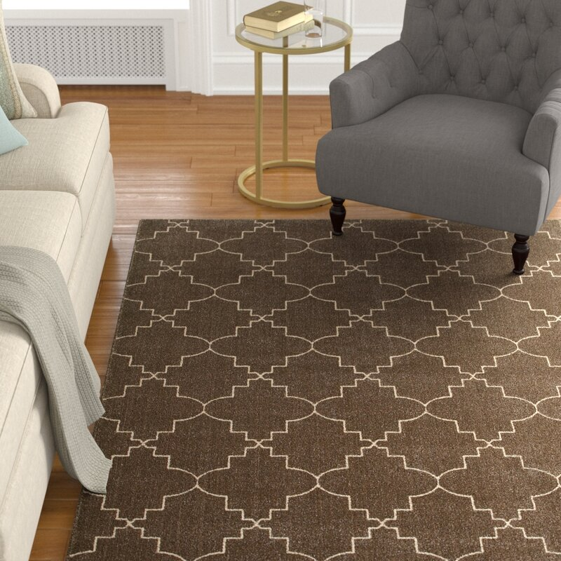 Alcott Hill Allen Brown/Ivory Area Rug, Size: Rectangle 67 x 96