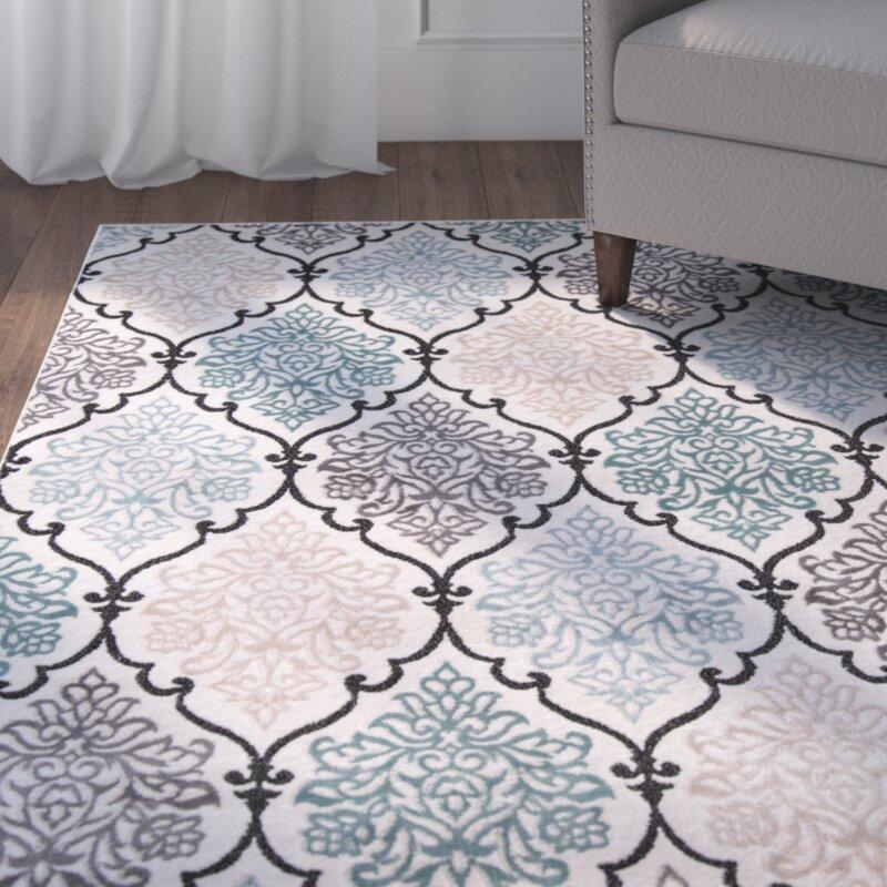 Black Area Rugs alcott hill kinsley teal/black area rug & reviews | wayfair