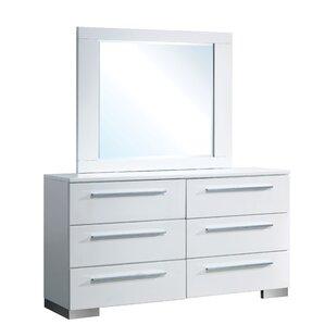 Lambda 6 Drawer Dresser with Mirror by Orren Ellis