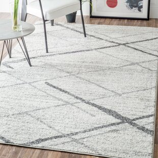 Azha Broken Lattice White Light Grey Area Rug