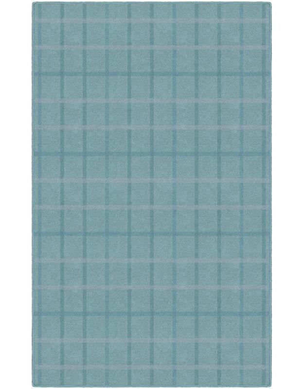 Gracie Oaks Jana Muted Plaid Blue Area Rug, Size: Rectangle 76 x 10