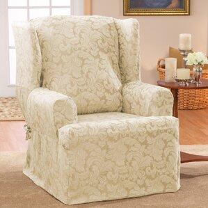 Scroll Classic T-Cushion Wingback Slipcover & Wing Chair Slipcovers Youu0027ll Love   Wayfair islam-shia.org