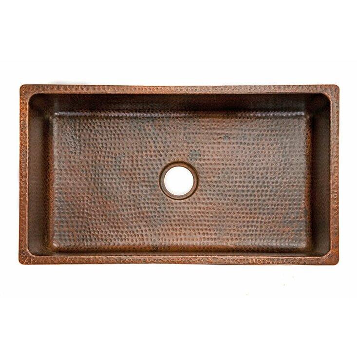 Premier Copper Products 33 X 19 Hammered Single Bowl Kitchen Sink Wayfair